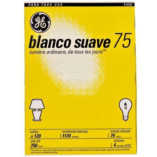 Ge Light Bulbs Soft White 4 75W, 4 Blb